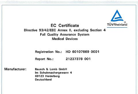 Our Certificates | Storz Ophthalmic Instruments